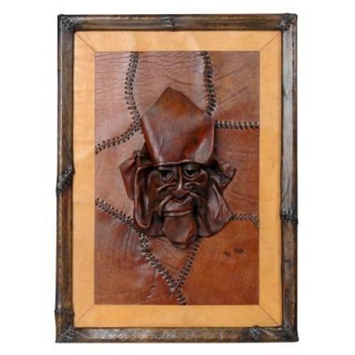 Korsan Maskeli El Yapımı Deri Tablo