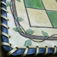 Hakiki Deri Doğa Temalı Yeşil Deri Satranç - Dama Tablası