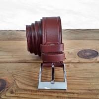 Kemer - Dikiş Motifli - 3.5 cm - Taba ( Açık Kahverengi )