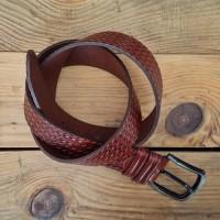 Hakiki Deri Kemer - Hasır Desenli - 4.5 cm - Kahverengi